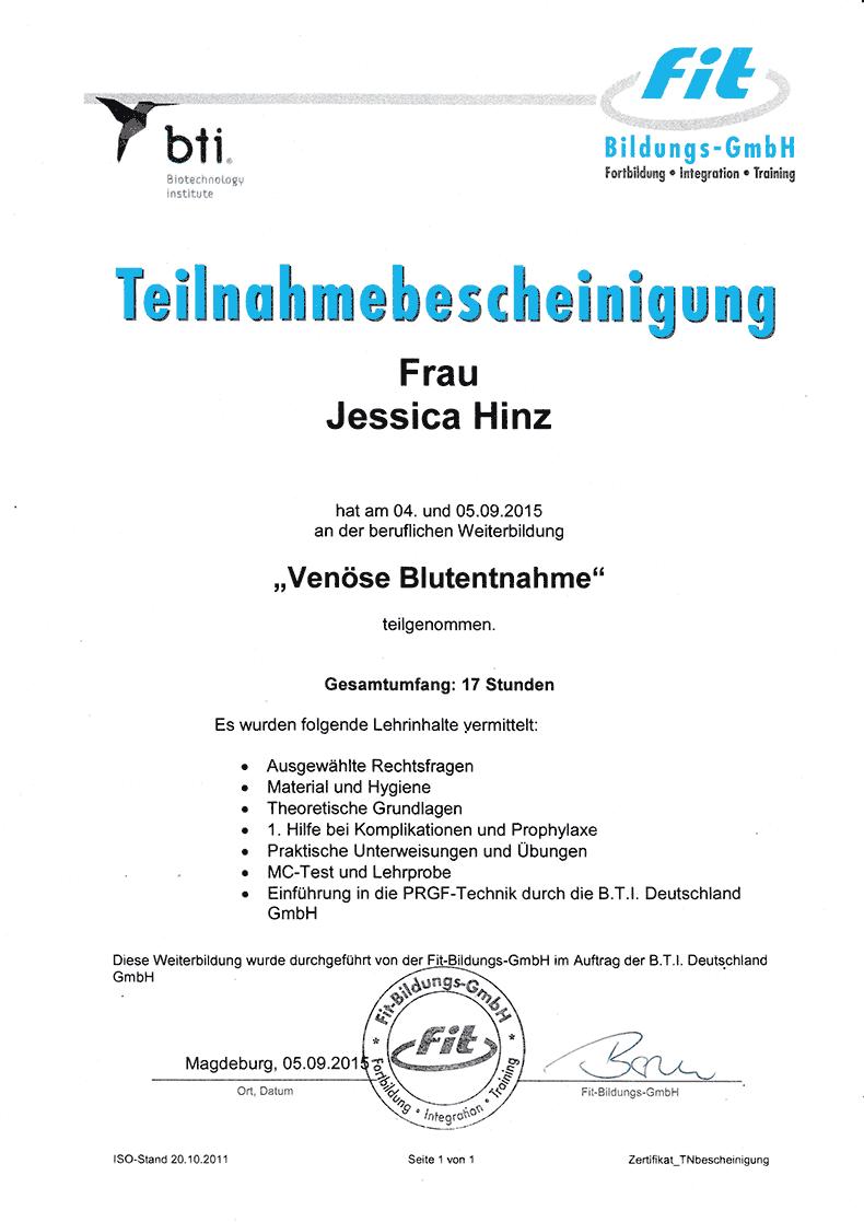 """Teilnahmebescheinigung Fortbildung """"Venöse Blutentnahme"""""""